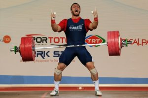 Dmitriy Klokov of Russia celebrates in t